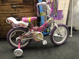 "4.7 out of 3 reviews Titan Flower Princess Girl's 16"" Wheel Deluxe BMX Bike with Training Wheels - Pink for Sale in Forest Park, GA"