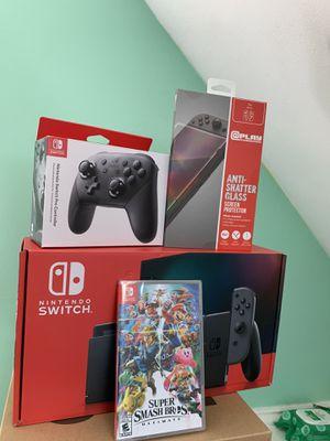 Nintendo Switch Bundle Super Smash Bro's, Controller, Screen Protector Gray Joy Con for Sale in Devon, PA