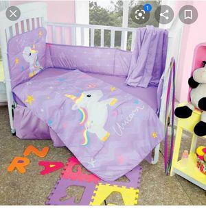 Unicorn rainbow baby girl crib set 6pcs for Sale in Claremont, CA