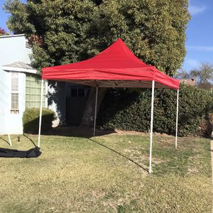 Pop up Canopy Tent Commercial Instant Shelter with Wheeled Carry Bag, Bonus 4 Canopy Sand Bags, 10x10 FT (Red) for Sale in Montebello, CA