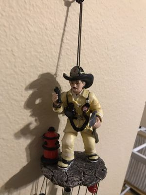 Ebros Yellow Gear Outfit Fireman in Line of Duty with Axe and Hydrant Wind Chime for Sale in New Port Richey, FL