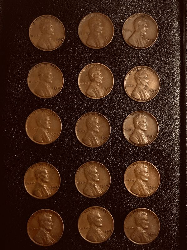 Lot 15 coins: Wheat penny's 1940 S