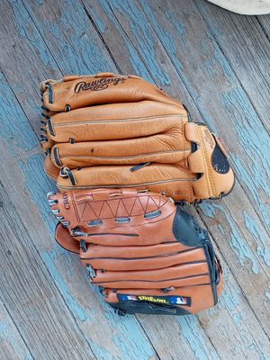 2 used baseball gloves and ball for Sale in Dedham, MA