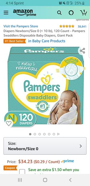Diapers Newborn/Size 0 (< 10 lb), 120 Count - Pampers Swaddlers Disposable Baby Diapers, Giant Pack for Sale in Clovis, CA