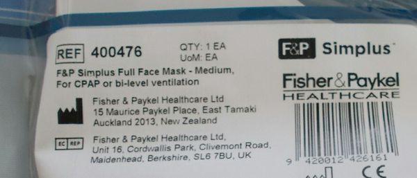 NEW F&P Simplus MEDIUM Full Face Mask Headgear Complete System 400476