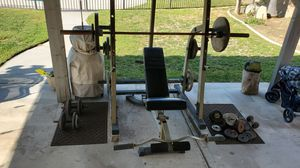 Nautilus half squat rack weight system 235 lbs Olympic bar curl bar and 120 lbs of free weights for Sale in Rialto, CA