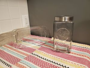 Glassware: Pyrex Baking Pan & Measuring Glass + Decorative Glass Container for Sale in Alexandria, VA