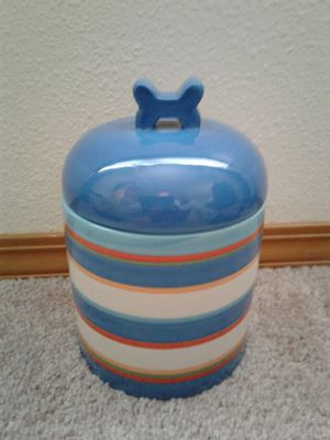Cute striped cookie jar. Great gift ! only $11.00 for Sale in Portland, OR