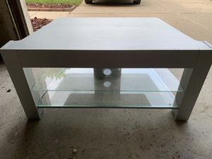 Grey top, TV table with 2 glass shelves for Sale in Canton, MI