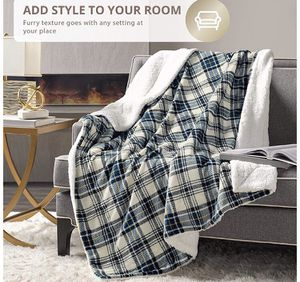 Comfy Sherpa Throw Blanket-(Plaid Blue, 50 x 60)Brandnew for Sale in Quitman, TX