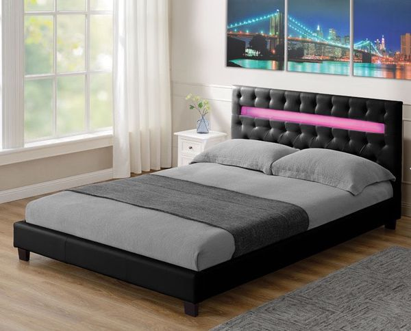 QUEEN BED BLACK WITH LED LIGHTS