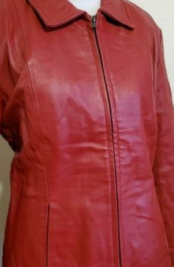 New Red Leather Women Jacket Size M for Sale in Marysville,  WA