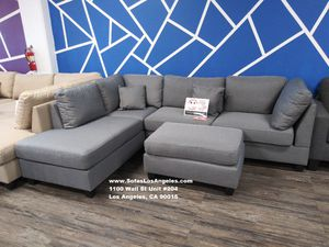 Real Showroom 😁 We Finance - Grey Reversible Chaise Couch Sofa Sectional With Ottoman for Sale in Bellflower, CA