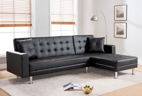 BLACK FUTON Tufted BONDED LEATHER Sectional Sofa Bed