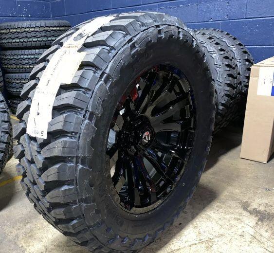 "5 20x9 Fuel Blitz 35"" Toyo MT Black Wheels Rim Tire Package 5x5 Jeep Wrangler JL"