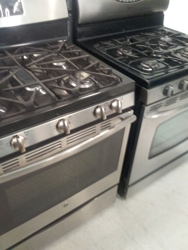 Ge,maytag gas stove stainless steel used good condition 90days warranty staring 375