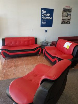 [SHOWROOM SALE] 3-pcs Living Room Set Sofa Loveseat & Chair Faux Leather [Only $50 Down] [90 Days to Pay Cash Price No Interest] for Sale in Irving, TX
