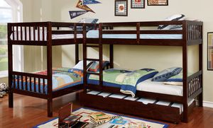 Quadruple Wood Bunk Bed L-Shape for Sale in Agua Dulce, CA