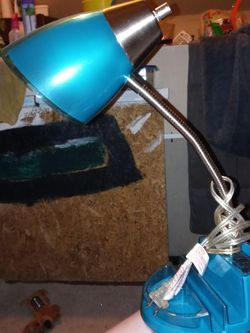 Turquoise Colored Desk Lamp W/ 2 Outlet Plug Ins for Sale in Columbus,  OH