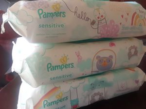 3 pampers sensitive wipes for Sale in Mundelein, IL