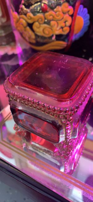 Antique small red glass trinket box for Sale in Waynesboro, PA