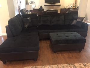 Charcoal brown/black microfiber sectional couch and storage ottoman for Sale in Vancouver, WA