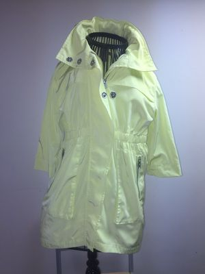 Sz 4 neon light weight rain jacket with Hideaway hood for Sale in St. Louis, MO