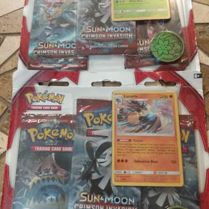 Brand New Pokemon Sun And Moon Crimson Invasion Includes Three Booster Packs One Promo Card 1 Coin Unopened $15 Each for Sale in Orlando, FL