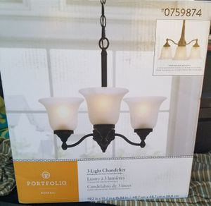 3-Light Chandelier, Oil-Rubbed/Frosted Glass Shades for Sale in Cary, NC