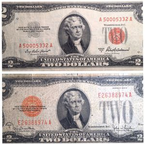 1928 G Large Red Seal 1953 A Two Dollar Bills - See pictures! for Sale in St. Charles, IL