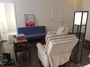 Move out sale, all for $150.00( 2) recliners in good conditions, one blue futon in good conditions, a folding coffe table good condition, one artwork for Sale in Jersey City, NJ