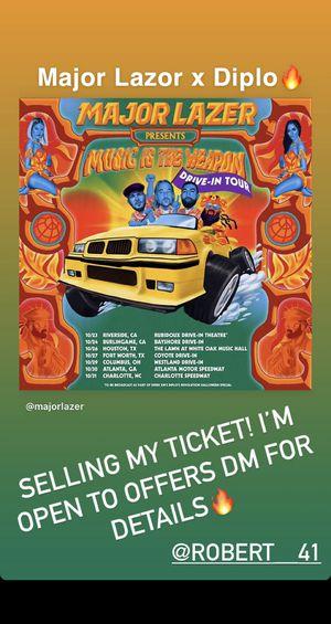 Major Lazor x Diplo Drive in tickets! Rave Festival for Sale in Fontana, CA