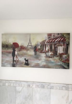 Beautiful Paris canvas painting 23.5 inches by 47 inches for Sale in Riverside, IL