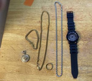 2 chains braclet ring pendant and watch for Sale in Lauderhill, FL
