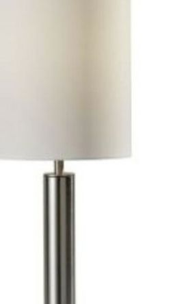 Adesso Brushed Steel Hollywood Table Lamp Silk Like Frabic Tall Drum Shade With 60inch Black Cord And On/off Switch(4173-22) Bulb Not Included. for Sale in Columbus,  OH
