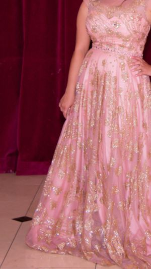 Prom blush pink gold sparkly gown evening dress for Sale in Stone Ridge, VA