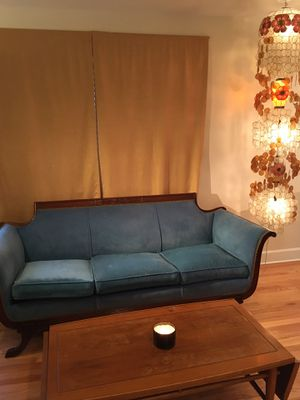 Beautiful cruch blue couch for Sale in Seattle, WA