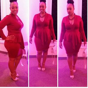 Burgundy Peplum Low V Cut Midi Dress XL for Sale in Douglasville, GA