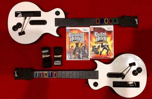 2 Les Paul Guitar Controllers for Nintendo Wii + 2 Games for Sale in Oklahoma City, OK