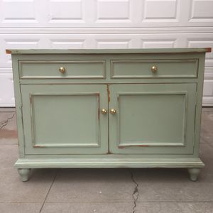Awesome green and gold shabby distressed cabinet drawer shelf for Sale in San Diego, CA