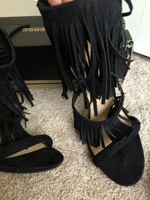 Black fringe heeled sandals for Sale in Raleigh, NC