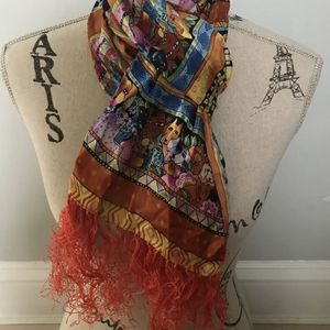 """NEW Laurel Burch Silk Long SCARF Fringe Dogs Cats Wrap """"Canines Felines"""" Retired for Sale in Woonsocket, RI"""