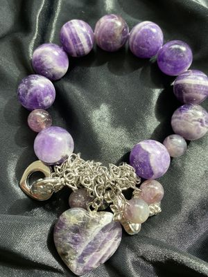 real amethyst heart charm bracelet for Sale in Los Angeles, CA