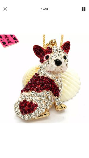 Betsey Johnson rhinestone red & clear 3D standing puppy on a gold chain for Sale in Northfield, OH