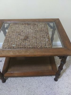 Glass Top Wood Table for Sale in Cadillac, MI