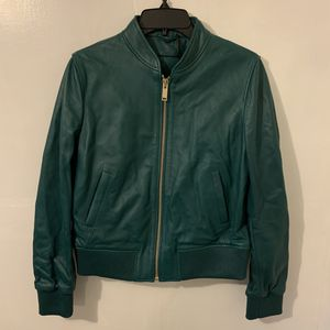 NEW Massimo Dutti Women's Green Full ZIP Leather Jacket Size Medium Natural Leather. Retails for $345 for Sale in Trenton, NJ