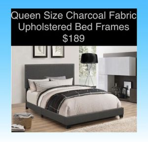 Queen Size Charcoal Upholstered Bed Frames (New) Same Day Delivery Available for Sale in Atlanta, GA