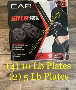 CAP 50 Lb Olympic Weight Plates (4) 10 Lb Plates & (2) 5 Lb Plates for Sale in Fontana,  CA