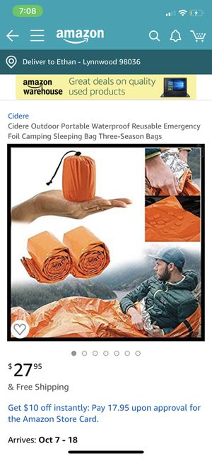 (SHIPPING ONLY) Emergency Sleeping Bag - Originally 28, Selling Cheap for Sale in Lynnwood, WA