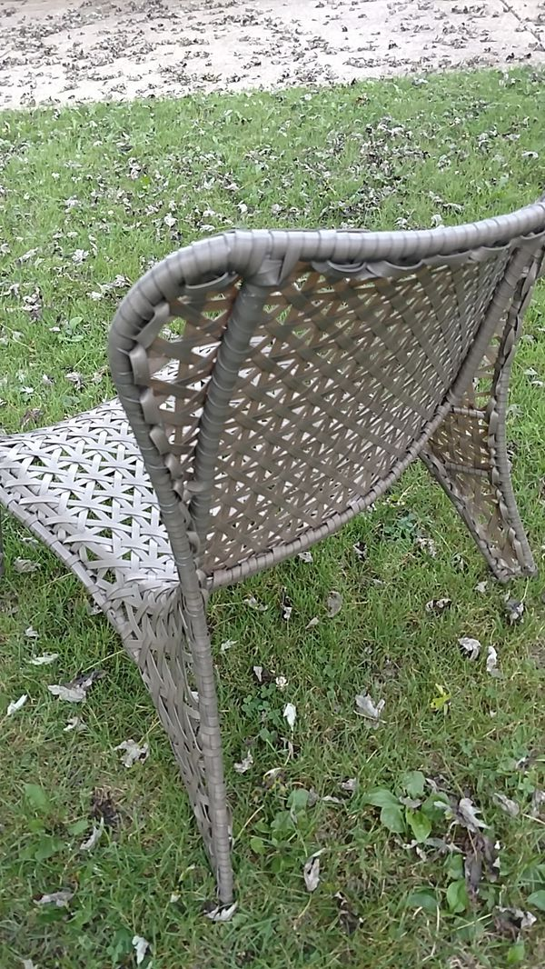 Outdoor Patio Chair Taupe Weave